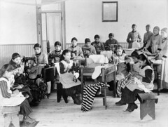 Indian residential school, Fort Resolution, Northwest Territories / Pensionnat indien, Fort Resolution (Territoires du Nord-Ouest) (BiblioArchives / LibraryArchives) Tags: lac bac libraryandarchivescanada bibliothèqueetarchivescanada canada canada150 northwestterritories territoiresdunordouest girls filles indianresidentialschool pensionnatindien sewingmachines machinesàcoudre fortresolution departmentofminesandtechnicalsurveys ministèredesminesetdesrelevéstechniques