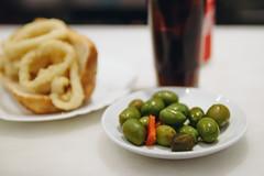 / madrid / (aubreyrose) Tags: bocadillocalamares calamari espana explore food lacampana madrid olives plazamayor seafood spain travel wanderlust