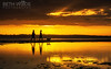Walkin' the Dog (Beth Wode Photography) Tags: sunet dusk silhouettes people dog walkingthedog reflections goldensunset goldenreflections wellingtonpoint redlands beth wode bethwode
