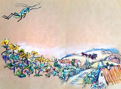 1845 (Мария Юрист) Tags: 365 illustration иллюстрация животные насекомые insects animals brushpen ручкакисть брашпен художка пастель light свет