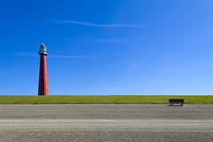 Light house and bench (Jan van der Wolf) Tags: map169257v vuurtoren red rood redrule landscape landschap dijk bench lighthouse bank phare huisduinen denhelder dike lijnen lines