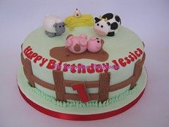 1st Birthday Cake - Farm Theme (TheSugarplumBakehouse) Tags: pink green chicken field grass fence pig cow model sheep mud handmade farm straw chick figure hay bale edible fondant farmyard