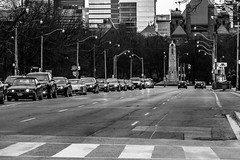 Crosstown Traffic (Kat N.L.M.) Tags: road street city urban toronto ontario canada cars monument trafficlight still driving cityscape traffic stuck queenspark frustration crosswalk avenue universityavenue legislature frustrated immobile hurried notmoving provinciallegislature canoneos650d canonefs18135mmis katnlm