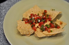 Home Made (Lake Effect) Tags: green plate chips tortilla tomatoe picodegallo msh0613 msh06134
