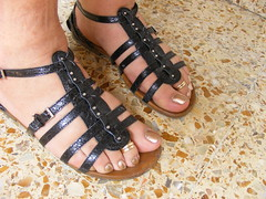 DSCF0600 (sandalman444) Tags: male feet foot long sandals painted mens pedicure toenails toerings