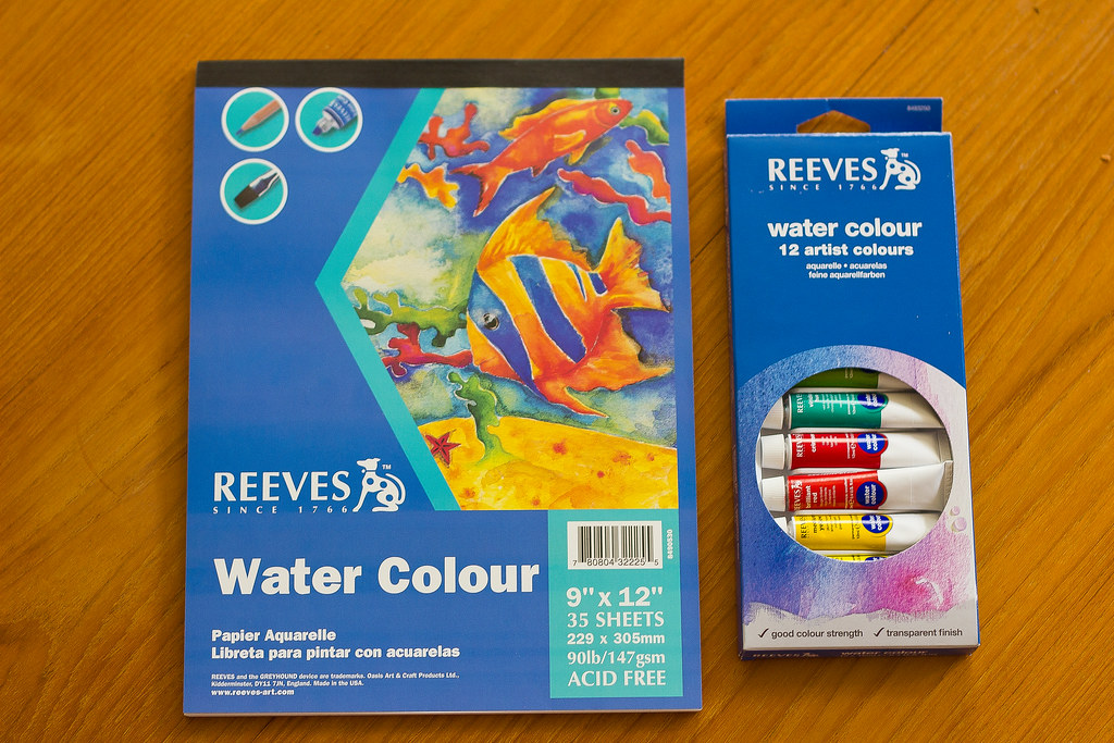 Supplies for making watercolor pages