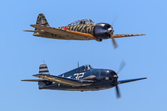 Grumman F6F-5 Hellcat and Mitsubishi A6M3 Model 22 Zero (Norman Graf) Tags: museum plane airplane airport fighter aircraft wwii performer zeke zero pilot mitsubishi warbird hellcat grumman pae fhc f6f painefield kpae f6f5 flyingheritagecollection a6m3 79863 snohomishcountyairport white32 carterteeter a6m3model22 n3852 n79863 nx79863 ui161