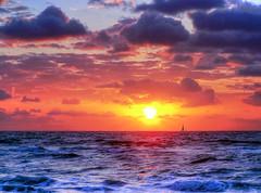 Boynton Beach Sunrise Sailboat (elbonius76) Tags: ocean clouds sailboat sunrise day cloudy boyntonbeach photomatix singleexposurehdr topazplugins