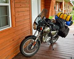 Room-side Parking.  Copper Harbor, Michigan (Pete Zeke) Tags: suzuki upperpeninsula lakesuperior tu250 lakesuperiorcircletour suzukitu250x upcruising