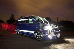 VW T5 ([Nocturne]) Tags: blue lightpainting bus volkswagen low automotive headlights badge parked camper shining transporter brakelights camperbus vwt5 wwwnoctographycouk