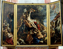 Antwerpen, Groensplaats, Onze Lieve Vrouwekathedraal, Peter Paul Rubens, Triptychon der Kreuzaufrichtung (Cathedral of our Dear Lady, Triptych The Raising of the Cross)