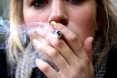 smoke (Jana ) Tags: portrait girl photography 50mm cool eyes punk pretty cigarette smoke grunge blonde softgrunge