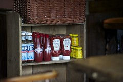 Condiments (IanAWood) Tags: buckinghamshire penn manualfocus hpsauce windowlight theredlion heinztomatoketchup colemansmustard d3s sarsonsvinegar walkingwithmynikon aposonnar1352zf carlzeissaposonnart2135mmzf2