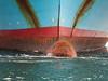 Ebba Mærsk (beta karel) Tags: blue red brown white water harbor boat rotterdam rust ship bow maasvlakte drowned maashaven 2013 ©betakarel ebbamærsk