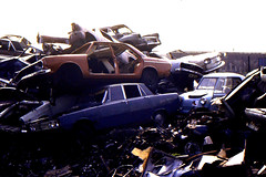 New Cross Car Recycling Site, c1979 (roger.w800) Tags: ford abandoned vw volkswagen rust rusty dump rover rusted morrisminor morris recycling audi scrapping scrap clunker crusher abandonedcar audi80 fordcortina rover2000 fordanglia cardump audi100 invacar carcrushing invalidcar