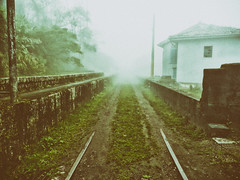 Abandoned Storehouses (Diego3336) Tags: old brazil mist abandoned broken fog brasil scary haze track saopaulo decay foggy tracks rail railway creepy warehouse rails storehouse warehouses santoandre paranapiacaba vintagelook storehouses