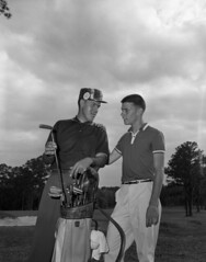 Bill Scarborough and Booker Moore at the Florida State Amateur Golf Tournament in Tallahassee, Florida (State Library and Archives of Florida) Tags: golf florida 1950s tallahassee golfers golfclubs golfcourses golfbags leoncounty golftournaments statelibraryandarchivesofflorida tallahasseedemocrattallahasseefloridanewspaper bookermoore floridastateamateurgolftournament billscarborough