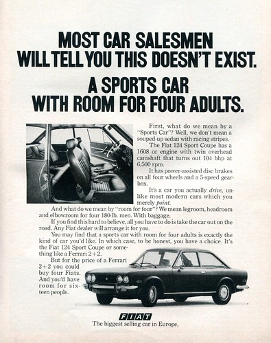 1971 Fiat 124 Sport Coupe Advertising Road & Track June 1971