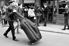 Cello, the Marais, Paris. (Paul Newbon) Tags: street blackandwhite musician music paris livemusic streetphotography cello instrument musicalinstrument marais doublebass themarais