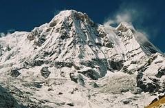 Annapurna South (peak), Annapurnas round trek, Himalaya, Nepal, 2004 (mathieu.LM) Tags: autumn nepal mountain snow 2004 analog trekking trek landscape wind south peak glacier round summit himalaya annapurna sanctuary annapurnas canoneos300