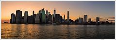 Manhattan skyline (Lanfranco Brugnoli) Tags: new york city nyc sunset sky panorama usa sun set skyline tramonto manhattan pano line