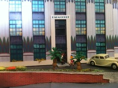 Moderne Fantasy Model Railway update (FrMark) Tags: railroad people woman car layout hotel model young style railway moderne luggage rush hurry oo deco 00 30s