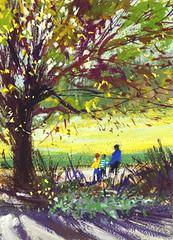 Arboretum Plein Air (Sherry Schmidt) Tags: park trees art garden watercolor painting landscape gardening watercolour gouache figures backlighting pleinair