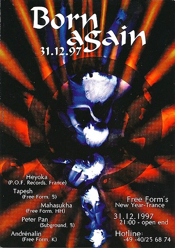 "Patrice Heyoka - Flyer 31/12/1997 - Free Form ""Born Again"" (Hambourg) <a style=""margin-left:10px; font-size:0.8em;"" href=""http://www.flickr.com/photos/110110699@N03/12209681476/"" target=""_blank"">@flickr</a>"