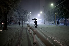 Chilly commute (Thomo13) Tags: street white snow storm japan night tokyo yuki roppongi 2014 gettyimagesjapan14q1 {vision}:{dark}=0591 {vision}:{sky}=0854 {vision}:{mountain}=0514 {vision}:{outdoor}=0636 {vision}:{plant}=0726