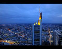"""view from 200m height"" (Karel Hrouzek P H O T O) Tags: blue skyline skyscraper germany dark deutschland lights nikon view frankfurt sigma hour hdr hoya maintower d300 mygearandme flickrtravelaward"