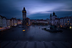 Old Town Square, Prague (DoctorNo_34) Tags: longexposure blue urban copyright dark landscape nikon prague dusk praha hour 2014 namesti staromak dejarnac wwwdejarnaccom