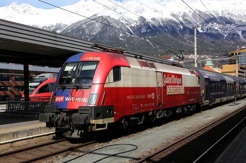 ÖBB 1116 232-0 ORF2 Guten Morgen Österreich, Innsbruck Hbf