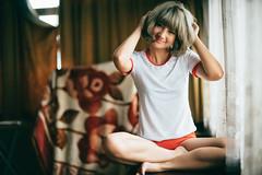 DSC00515 (Spyrosis) Tags: woman portrait sexy fashion japanese bloomer short hair grey indoor asian model cute beauty