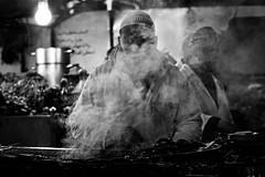 Grillmaster (Cornelli2010) Tags: canonef70200mm14l canoneos5dmarkiii bw barbecue blackandwhite candid dampf djemaaelfna grill grillen grillmaster marokko marrakech marrakesch marrakesh morocco people sw schwarzweis smoke streetphotography