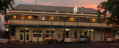 Pastoral Hotel Panorama (Darren Schiller) Tags: dubbo hotel pastoral panorama dusk newsouthwales architecture alcohol building community evening verandah pub country