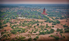 Rising up over a Hotel complex right in the heart of the plain at Bagan
