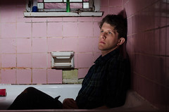 _DDA2856 (david_z_norton) Tags: bath bathroom bathtub offcameraflash onelight pink selfportrait strobist tub hardlight lowkey