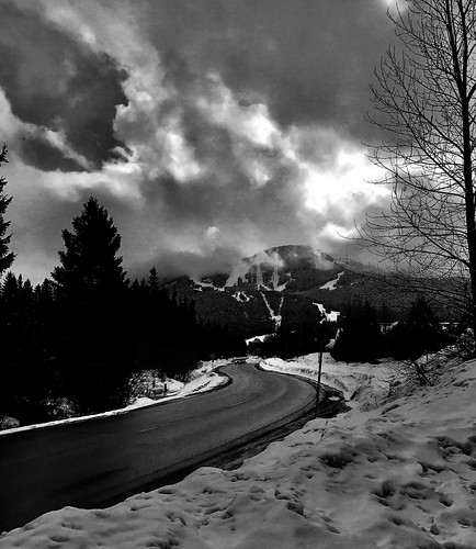 Noir road to the mountains