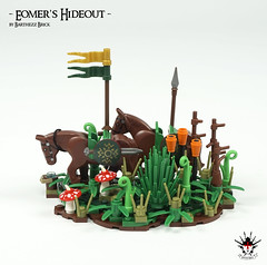 Lord Of The Rings: Eomer's Hideout -  by Barthezz Brick 14 (Barthezz Brick) Tags: lego castle fantasy lordoftherings medieval moc afol barthezz brick barthezzbrick lotr horse flag shield sword custom legos