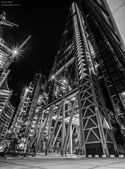 Glass and Steel (handmiles) Tags: mono monochrome blackandwhite bw glass steel silver metal building architecture london city capital leadenhall leadenhallbuilding night nightphoto nightphotography outdoor outside out longexposure sony sonya77mark2 sonya77m2 tamron tamron1024mm wideangle mileshandphotography2017