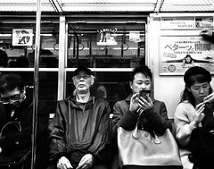 Subway People- 2nd from right , distracted or curious 😁 ? Sometimes I like that too  . (-Faisal Aljunied - !!) Tags: streetphotography japan osaka curious distracted commuters subwaypeople subwayphotography iphone7plus faisalaljunied