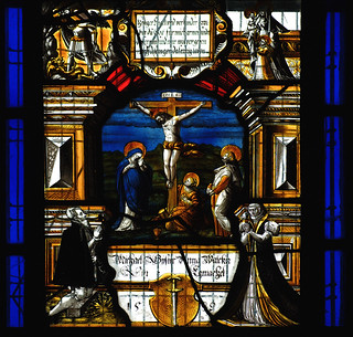 Patrixbourne, Kent, St. Mary's, chancel, stained glass window, crucifixion