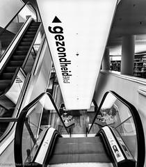 Amsterdam library, Gezondheid (Health) (peterpj) Tags: amsterdam nikonsigma bw stairs gezondheid health lightroom silverefexpro2 d800 sigma3514art art