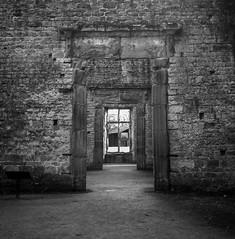 FILM - Doors within doors (fishyfish_arcade) Tags: 120film analogphotography bw blackwhite blackandwhite bolsovercastle filmisnotdead istillshootfilm lubitel166universal monochrome rolleisuperpan200 square tlr twinlensreflex analogcamera film mediumformat mono derbyshire bolsover