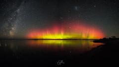 Lake Ellesmere aurora (milsey1966) Tags: amazingskies astrophotography astro aurora nz stars star starlight nightphotography southernlights reflections