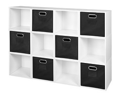 PC12PKWH_HTOTEBK (RegencyOfficeFurniture) Tags: niche regency cubo cubestorage modularstorage modular connecting connectable adaptable custom customizable cube square storageset closet organizer organization furniture cubes expandable home melamine laminate woodtone white whitewoodgrain pc12pk pc1211wh black blackstorage blacktotes blackbins htotebk