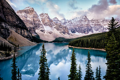 The Trees and the Peaks (Kristin Repsher) Tags: alberta autumn banff banffnationalpark bluesky canada canadianrockies clouds d750 goldenhour morainelake morning mountains nikon reflection reflections rockies snow