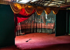 The Final Curtain (Mister Oy) Tags: davegreen oyphotos oy curtain stage theatre decay wigan pier light d800 nikon1635mmf4vrafs closed shut done finished red yellow backdrop