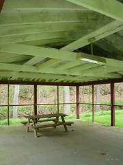 Boch Hollow State Nature Preserve (Dan Keck) Tags: hockingcounty hockinghills park woods shelter house picnic bench rafters light fluorescent odnr naturalresources