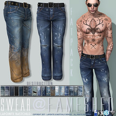 L&B@FaMESHed May - Swear Destruction Jeans (Lapointe & Bastchild) Tags: fameshed anniversary mesh clothing fashion secondlife sl fitmesh fit fittedmesh mens men male jeans denim weathered vintage worn ripped torn shredded destroyed muddy mud patched graffiti niramyth aesthetic slink physique gianni signature lapointe bastchild lapointebastchild lb